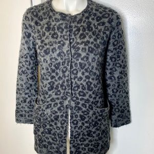 Zara Knit Collection Grey Animal Print Sweater 12